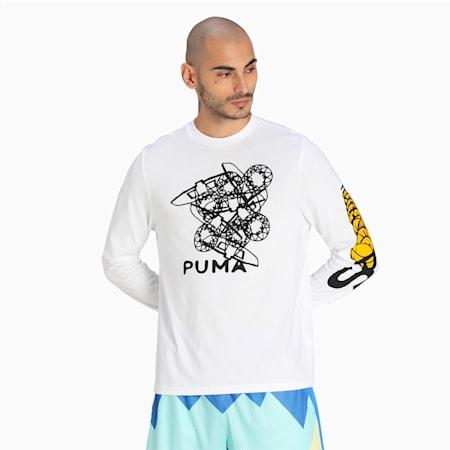 T-shirt à manches longues 4th Quarter, homme, Blanc Puma, petit