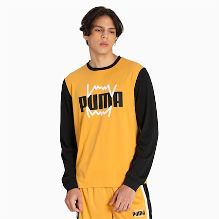 Camiseta Splash Shooting para hombre, Mineral Yellow-Puma Black, pequeño