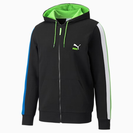 Sudadera con capucha de felpa de cierre completo CLSX para hombre, Puma Black-Green-Blue, pequeño