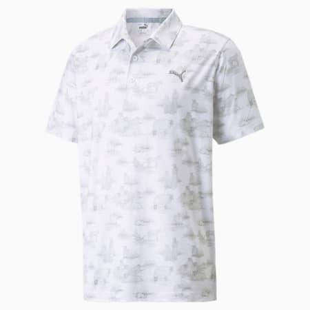 Cloudspun Mowers Men's Polo Shirt, Bright White-High Rise, small