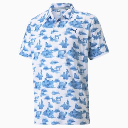 Cloudspun Mowers Men's Polo Shirt, Bright White-Mazarine Blue, small-GBR