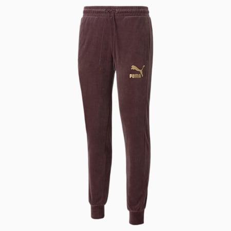 Iconic T7 Velour Men's Track Pants, Fudge, small-GBR