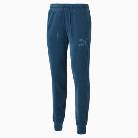 Iconic T7 Velour Men's Track Pants, Intense Blue, small