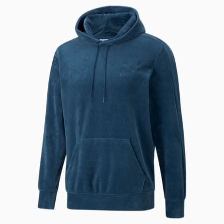 Iconic T7 Velour Men's Hoodie, Intense Blue, small