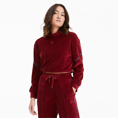 Skrócona damska welurowa bluza z kapturem, Pomegranate, small