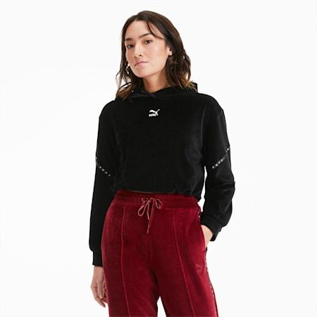 Skrócona damska welurowa bluza z kapturem, Puma Black, small