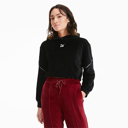 Sudadera recortada con capucha de velvetón para mujer, Puma Black, small