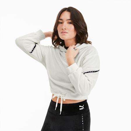 Skrócona damska welurowa bluza z kapturem, Vaporous Gray, small