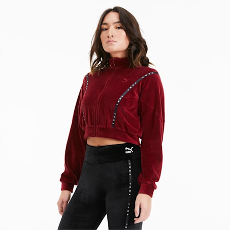 Cropped Velour Full Zip Women's Sweater, Pomegranate, small
