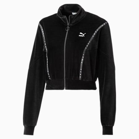 Kurze Damen Sweatjacke aus Velours, Puma Black, small