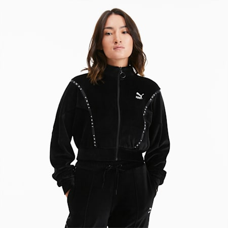 Cropped Velour Full Zip sweater voor dames, Puma Black, small