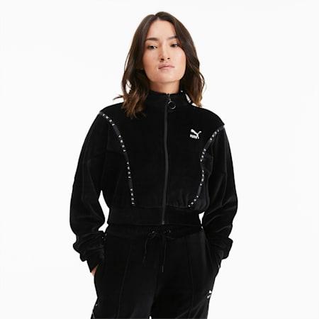 Felpa corta in velour con zip integrale da donna, Puma Black, small