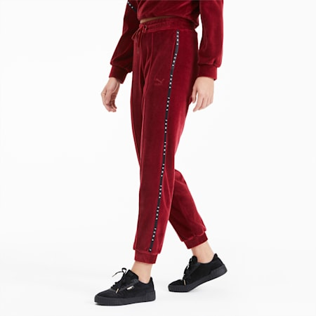 Velour Women's Pants, Pomegranate, small