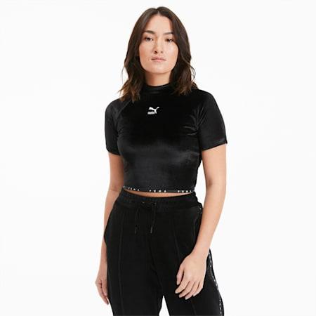 Camiseta de velvetón de cuello alto para mujer, Puma Black, small