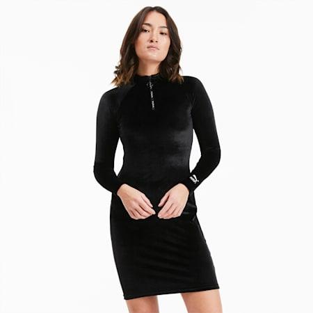 Vestito aderente a maniche lunghe in velour da donna, Puma Black, small