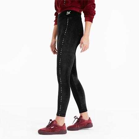 Damen Leggings aus Velours, Puma Black, small