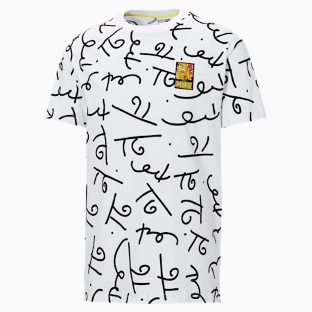 PUMA x BRITTO AOP Relaxed Fit Unisex T-Shirt, Puma White-AOP, small-IND