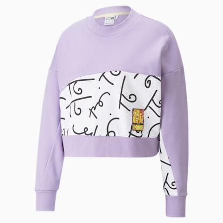 PUMA x BRITTO Damen Sweatshirt mit Print und Rundhalsausschnitt, Viola, small
