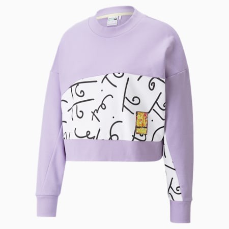 PUMA x BRITTO Relaxed Fit Knitted Women's Sweat Shirt, Viola, small-IND