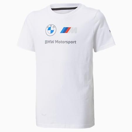 BMW M Motorsport Essentials Logo Youth Tee, Puma White, small-SEA
