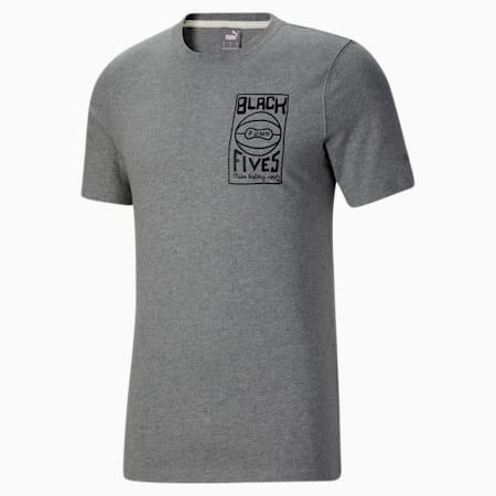 Camiseta de básquetbol de mangas cortasBlack Fivespara hombre, Medium Gray Heather, pequeño