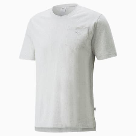 MMQ T-shirt met zak, Light Gray-Heather BC02, small