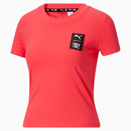 Camiseta PUMA x FIRST MILE para mujer, Paradise Pink, pequeño