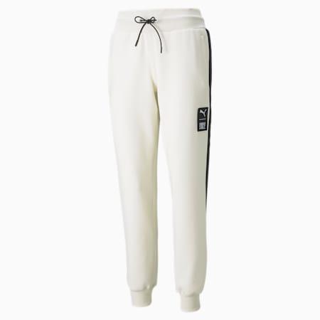 Pantalones para correr de tejido doble PUMA x FIRST MILE para mujer, Ivory Glow, pequeño