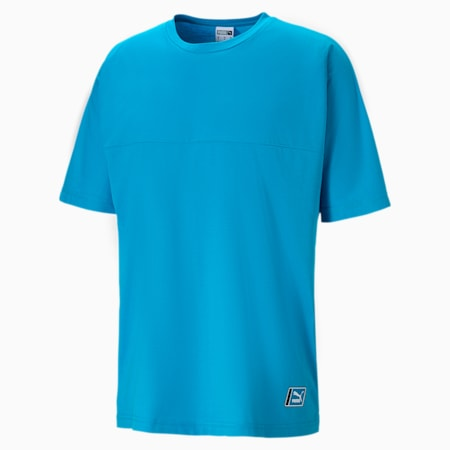 Boxy Tape T-shirt voor heren, Atomic Blue, small