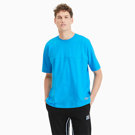T-Shirt Boxy Tape pour homme, Atomic Blue, small