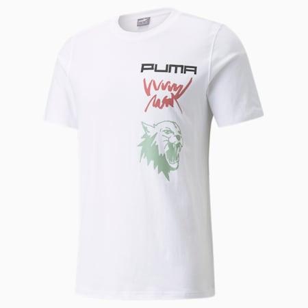 4. Quarter Herren Basketball-T-Shirt, Puma White, small