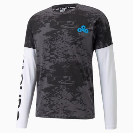 Camiseta estampada manga larga PUMA x CLOUD9 Esports para hombre, Puma Black-Puma White, pequeño