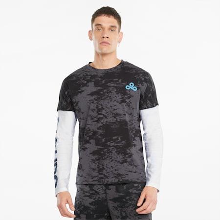 PUMA x CLOUD9 Printed Graphic Long Sleeve Men's Esports Tee, Puma Black-Puma White, small