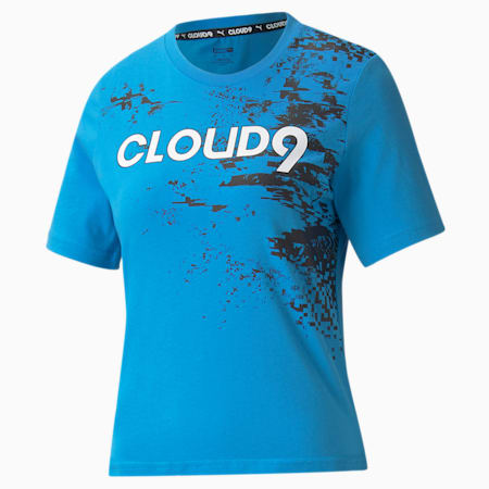 Camiseta estampada PUMA x CLOUD9 Esports para mujer, Bleu Azur, pequeño