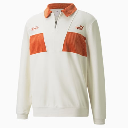PUMA x BUTTER GOODS Quarter-Zip Sweater, Whisper White, small-GBR