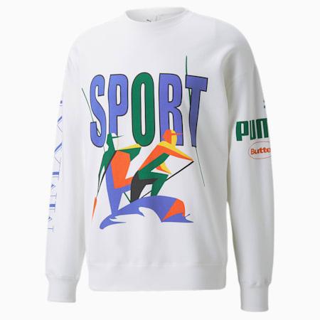 PUMA x BUTTER GOODS Crew Neck Sweater, Puma White, small