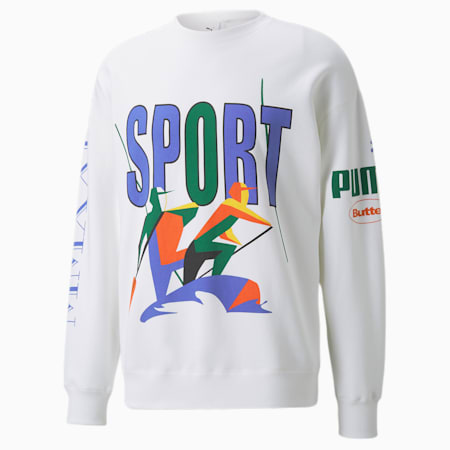 PUMA x BUTTER GOODS Crew Neck Sweater, Puma White, small-GBR