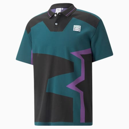 푸마 x BUTTER GOODS Two-Button 폴로 셔츠/PUMA x BG FB Polo, Deep Teal-.AOP, small-KOR