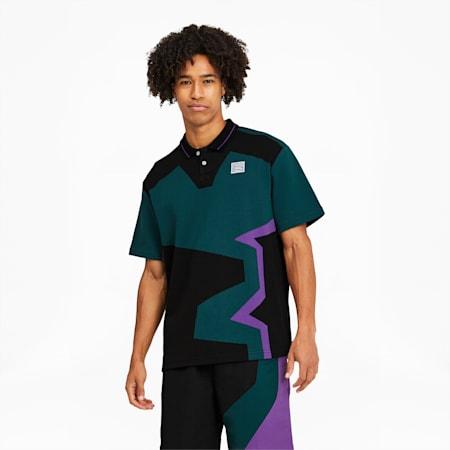 PUMA x BUTTER GOODS Two-Button Polo Shirt, Deep Teal-.AOP, small-GBR