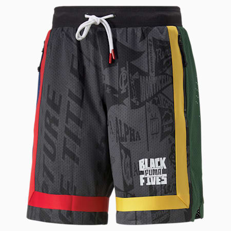 Shorts de básquetbol Black Fives Front Page para hombre, Puma Black-Blue Depths, pequeño