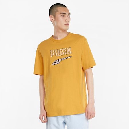 Downtown Logo T-shirt voor heren, Mineral Yellow, small