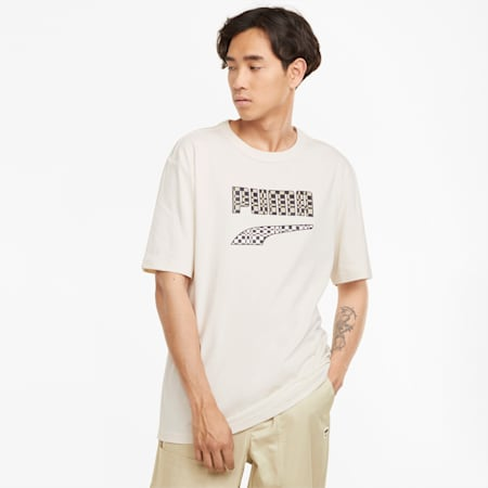 T-shirt à logo Downtown Homme, Ivory Glow, small