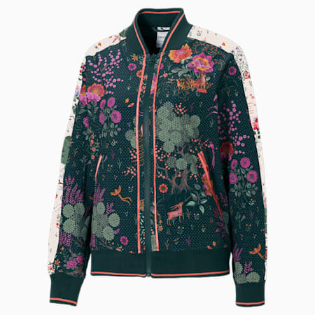 PUMA x LIBERTY Women's Track Jacket, Green Gables-AOP, small-IND