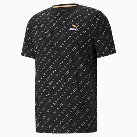 Elevate T-shirt met print heren, Puma Black-AOP, small