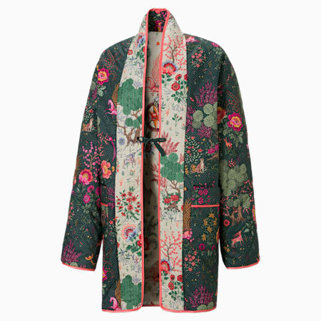 PUMA x LIBERTY Printed Women's Kimono, Green Gables-AOP, small-SEA