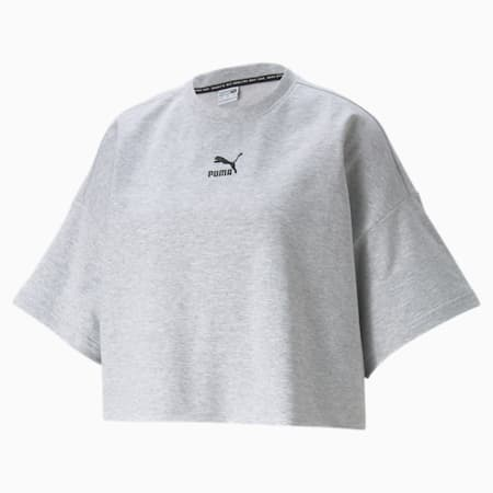 Classics Damen T-Shirt mit Rundhalsausschnitt und unversäubertem Saum, Light Gray Heather, small