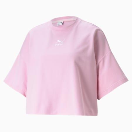 Classics Damen T-Shirt mit Rundhalsausschnitt und unversäubertem Saum, Pink Lady, small