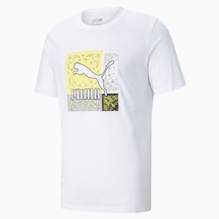 Off Beat Graphic Herren T-Shirt, Puma White-Celandine, small