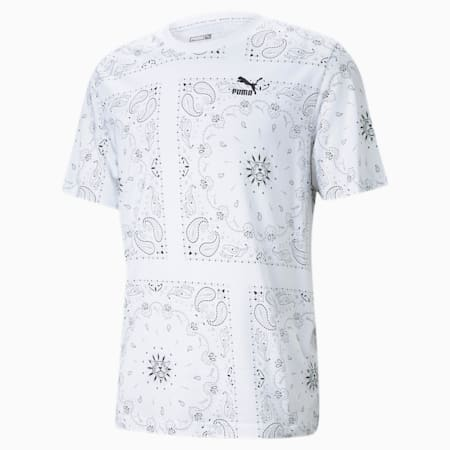OB Printed Men's Tee, Puma White-AOP, small