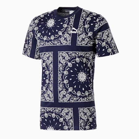 T-shirt imprimé OB homme, Peacoat-AOP, small